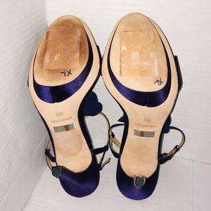 Badgley Mischka Shoes - Badgley Mischka Indigo Satin Leather Platform Heel
